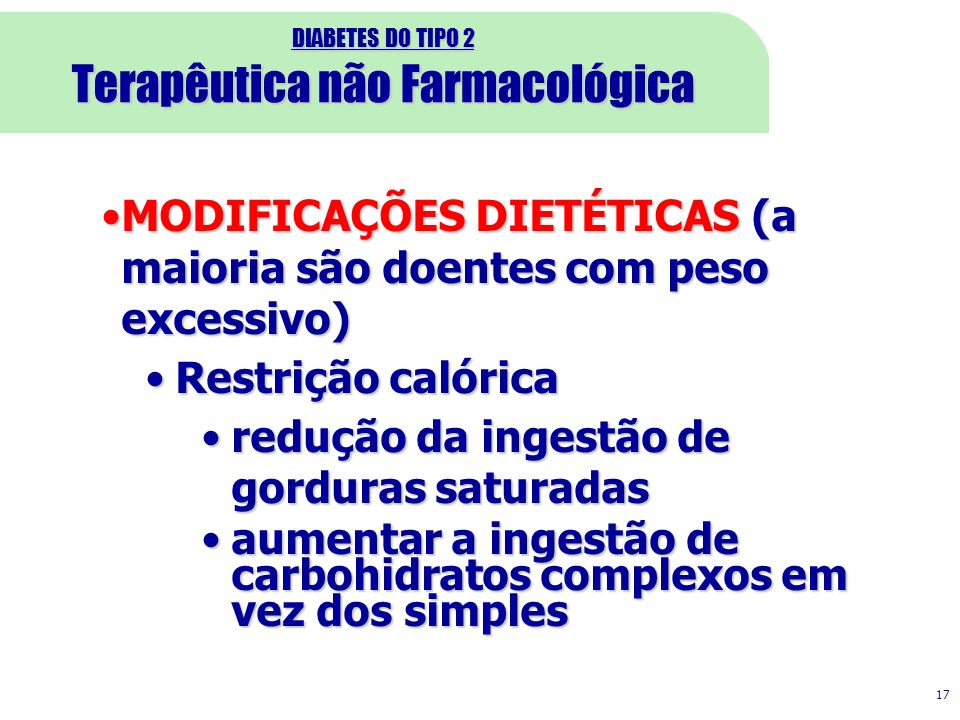 DIABETES DO TIPO 2 Terapêutica não Farmacológica