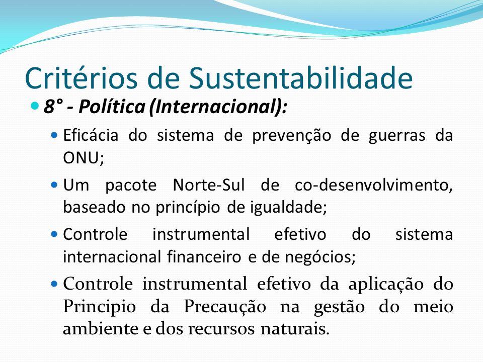 Critérios de Sustentabilidade