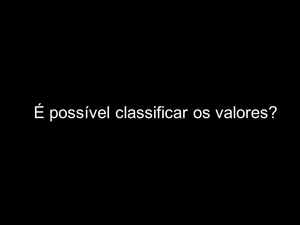 É possível classificar os valores