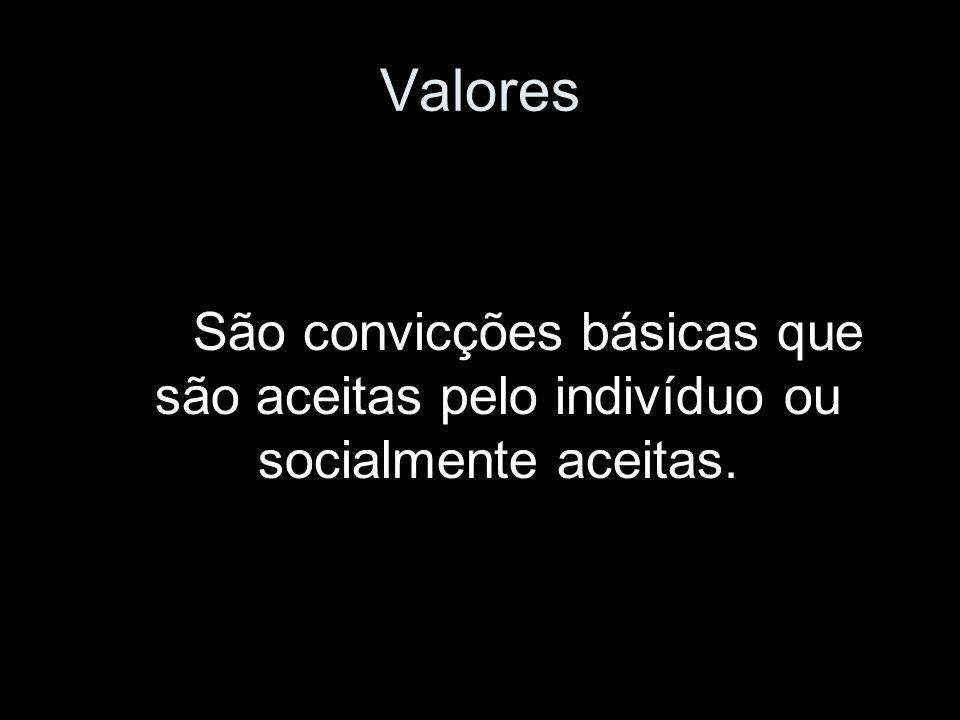 Valores São convicções básicas que são aceitas pelo indivíduo ou socialmente aceitas.