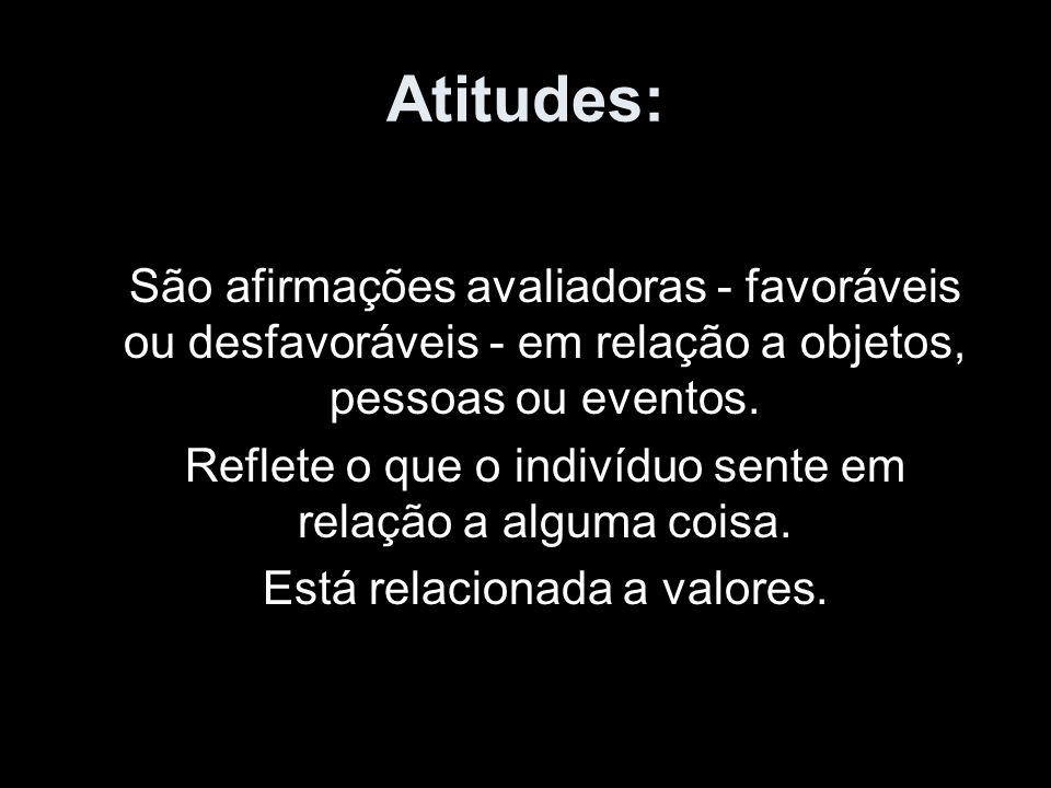 Atitudes: São afirmações avaliadoras - favoráveis ou desfavoráveis - em relação a objetos, pessoas ou eventos.