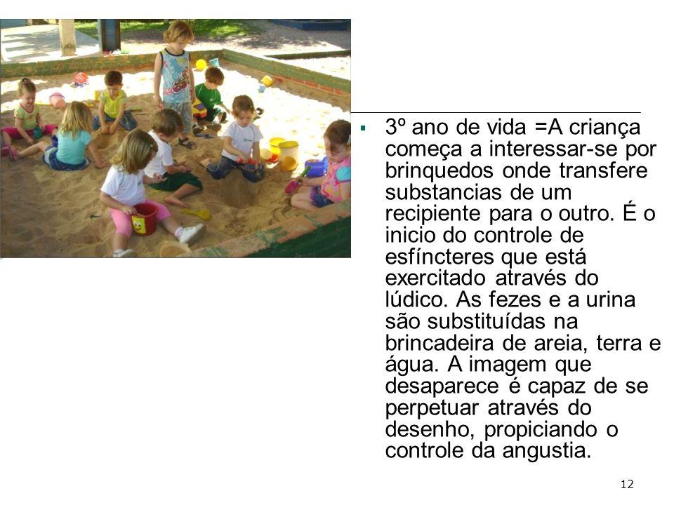 3º ano de vida =A criança começa a interessar-se por brinquedos onde transfere substancias de um recipiente para o outro.