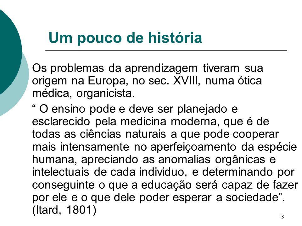 Um pouco de história Os problemas da aprendizagem tiveram sua origem na Europa, no sec. XVIII, numa ótica médica, organicista.