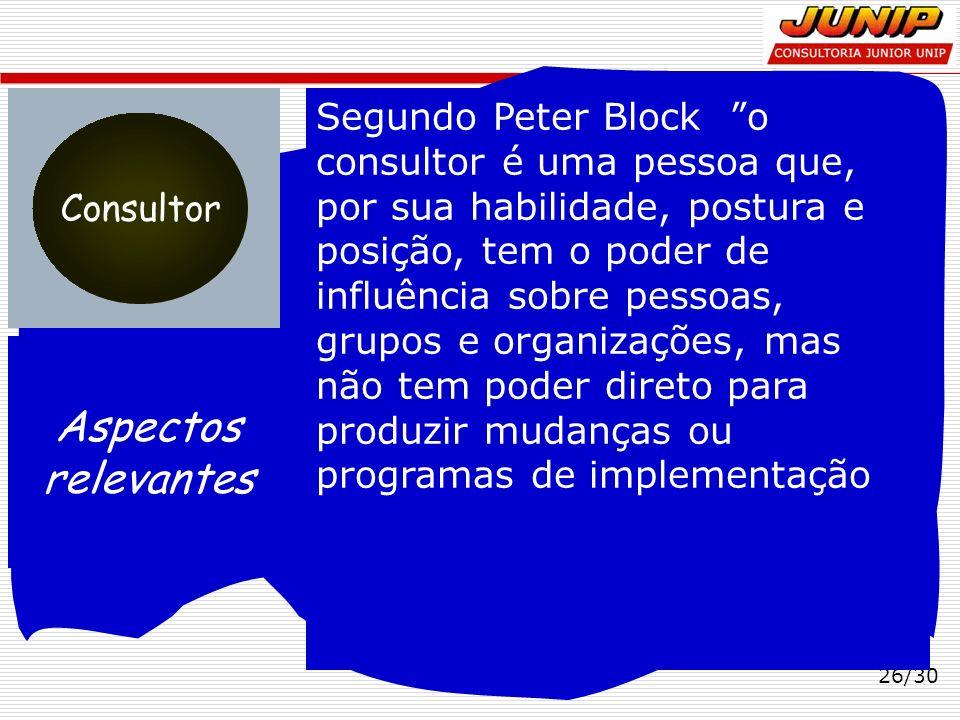 Segundo Peter Block o consultor é uma pessoa que, por sua habilidade, postura e posição, tem o poder de influência sobre pessoas, grupos e organizações, mas não tem poder direto para produzir mudanças ou programas de implementação