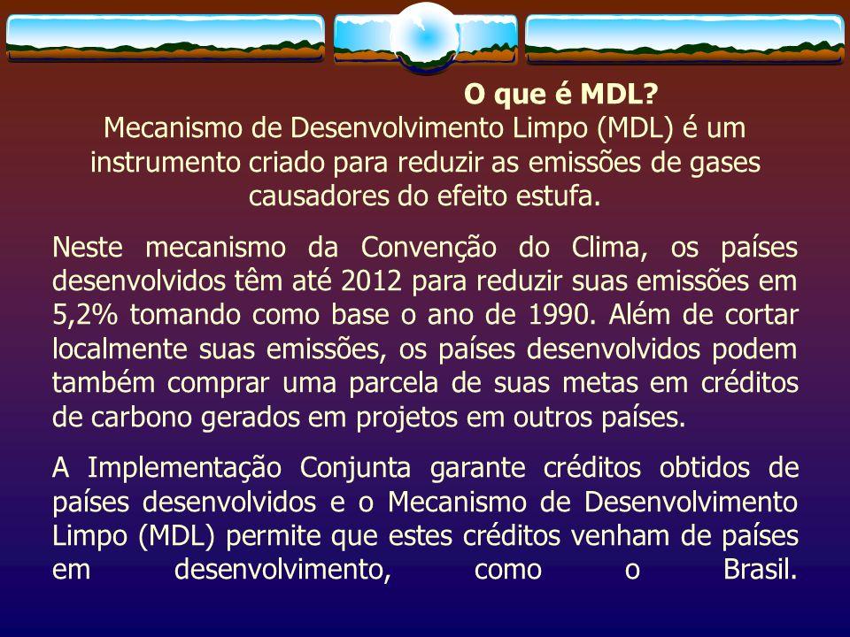 O que é MDL Mecanismo de Desenvolvimento Limpo (MDL) é um instrumento criado para reduzir as emissões de gases causadores do efeito estufa.