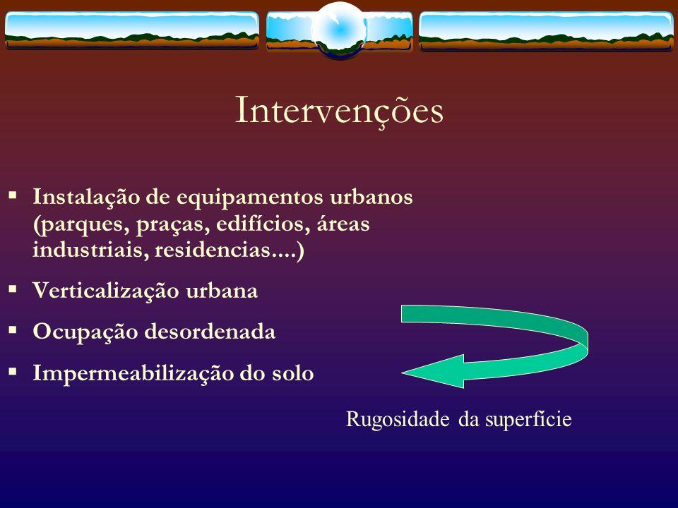 Intervenções Instalação de equipamentos urbanos (parques, praças, edifícios, áreas industriais, residencias....)