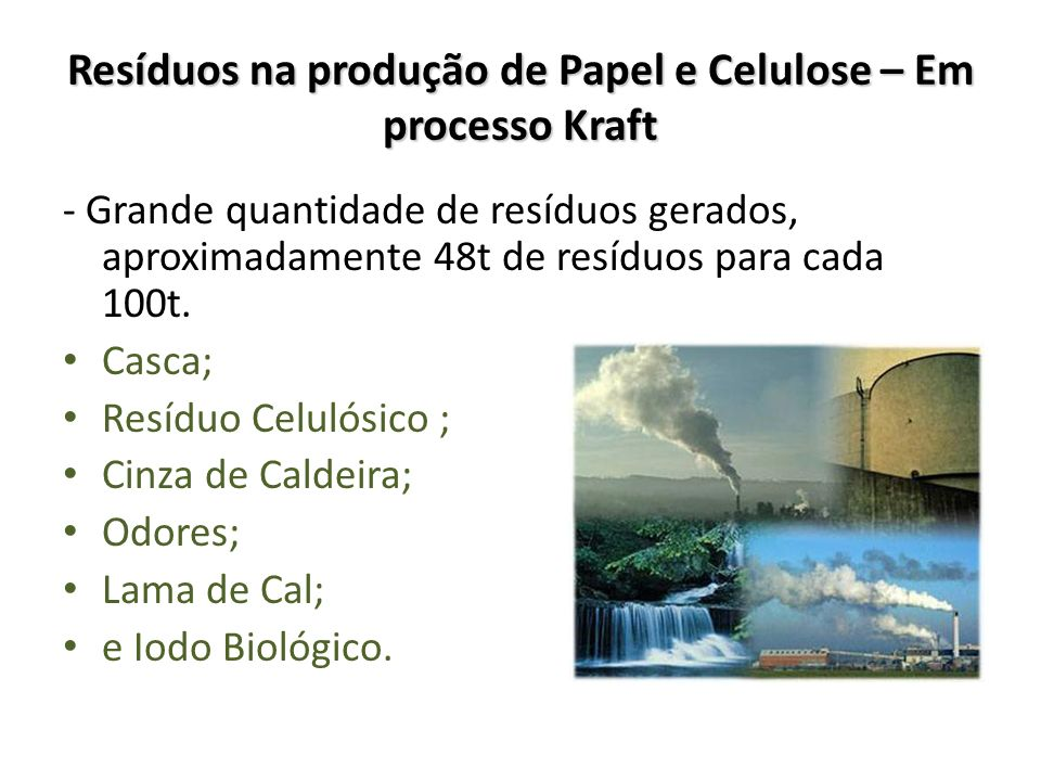 Resíduos na produção de Papel e Celulose – Em processo Kraft