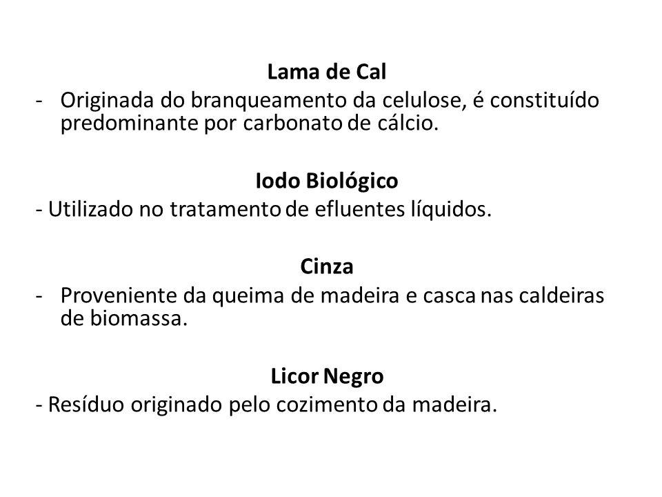 Lama de Cal Originada do branqueamento da celulose, é constituído predominante por carbonato de cálcio.
