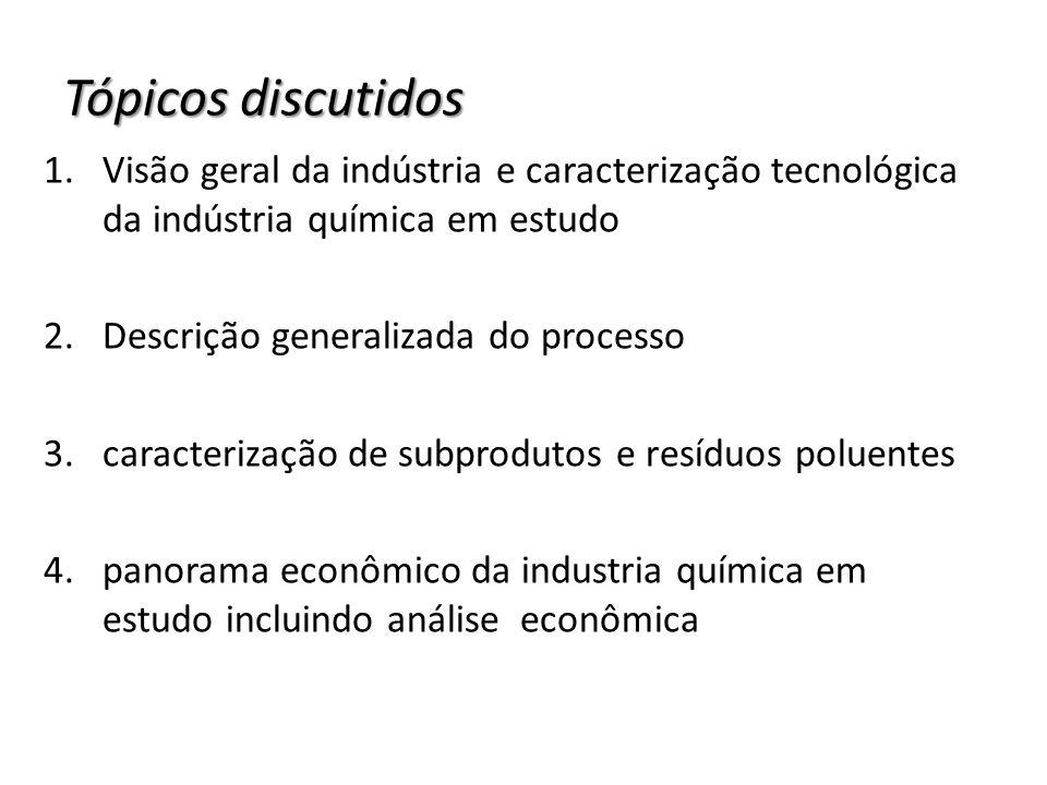 Tópicos discutidos Visão geral da indústria e caracterização tecnológica da indústria química em estudo