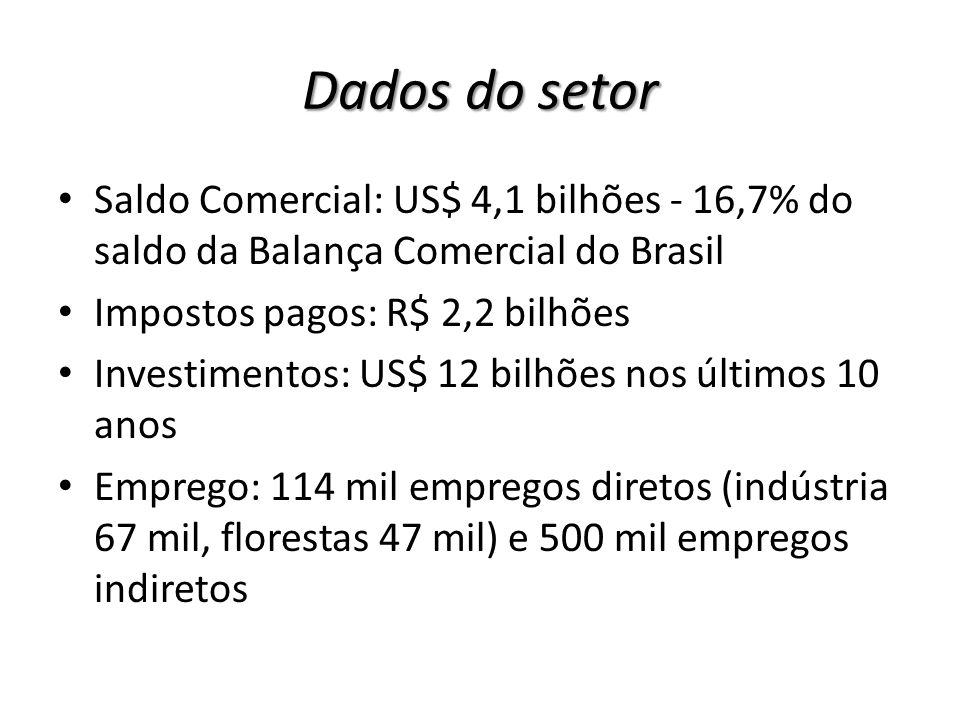 Dados do setor Saldo Comercial: US$ 4,1 bilhões - 16,7% do saldo da Balança Comercial do Brasil. Impostos pagos: R$ 2,2 bilhões.