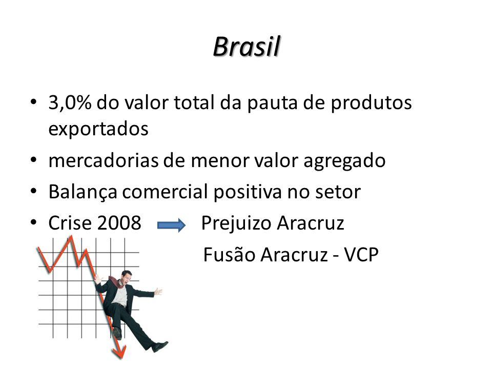 Brasil 3,0% do valor total da pauta de produtos exportados