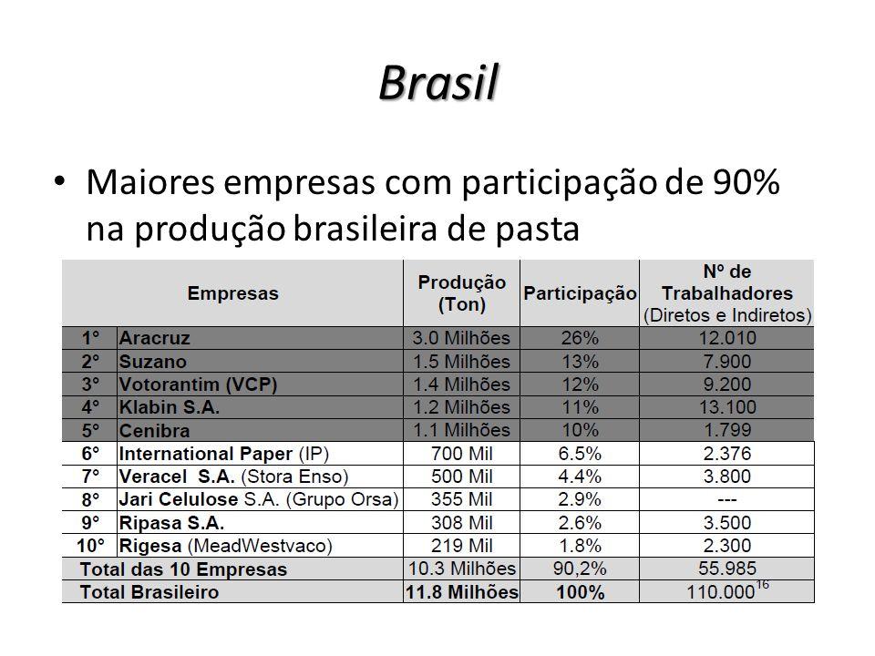 Brasil Maiores empresas com participação de 90% na produção brasileira de pasta