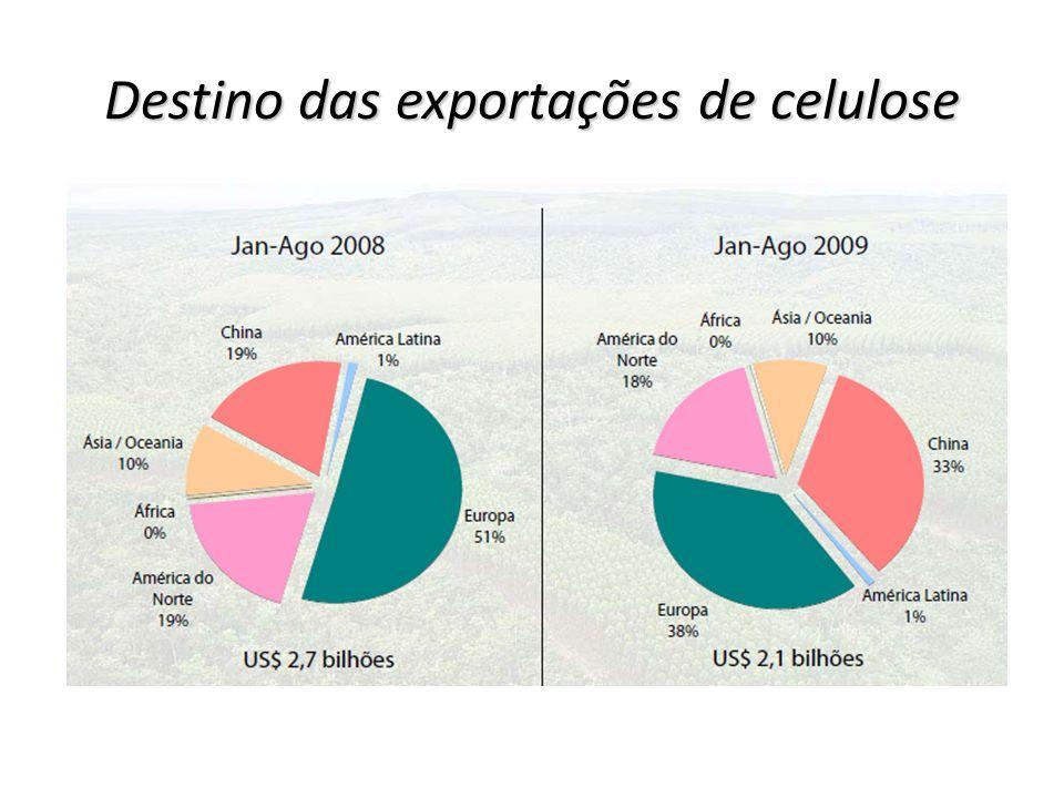 Destino das exportações de celulose