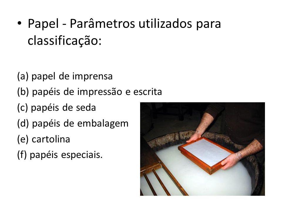 Papel - Parâmetros utilizados para classificação: