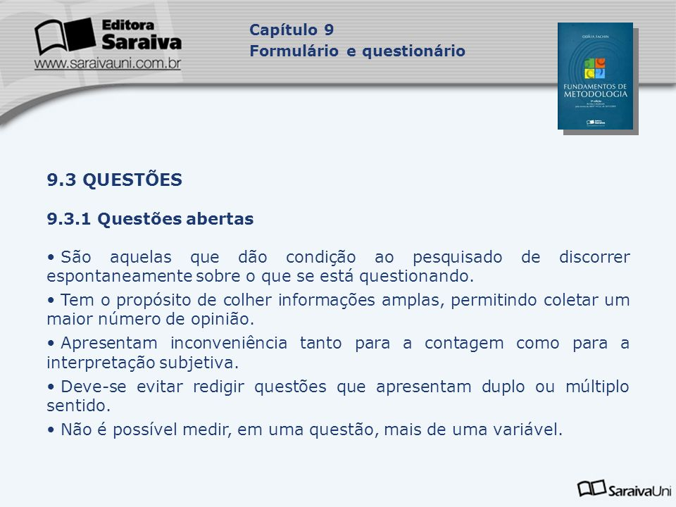 9.3 QUESTÕES 9.3.1 Questões abertas
