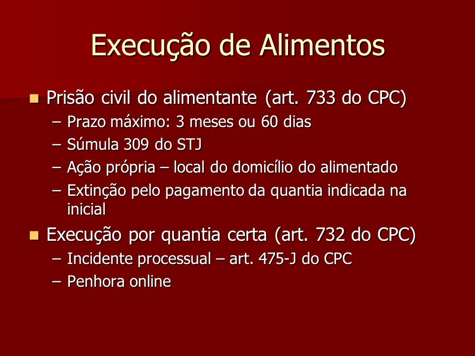Execução de Alimentos Prisão civil do alimentante (art. 733 do CPC)