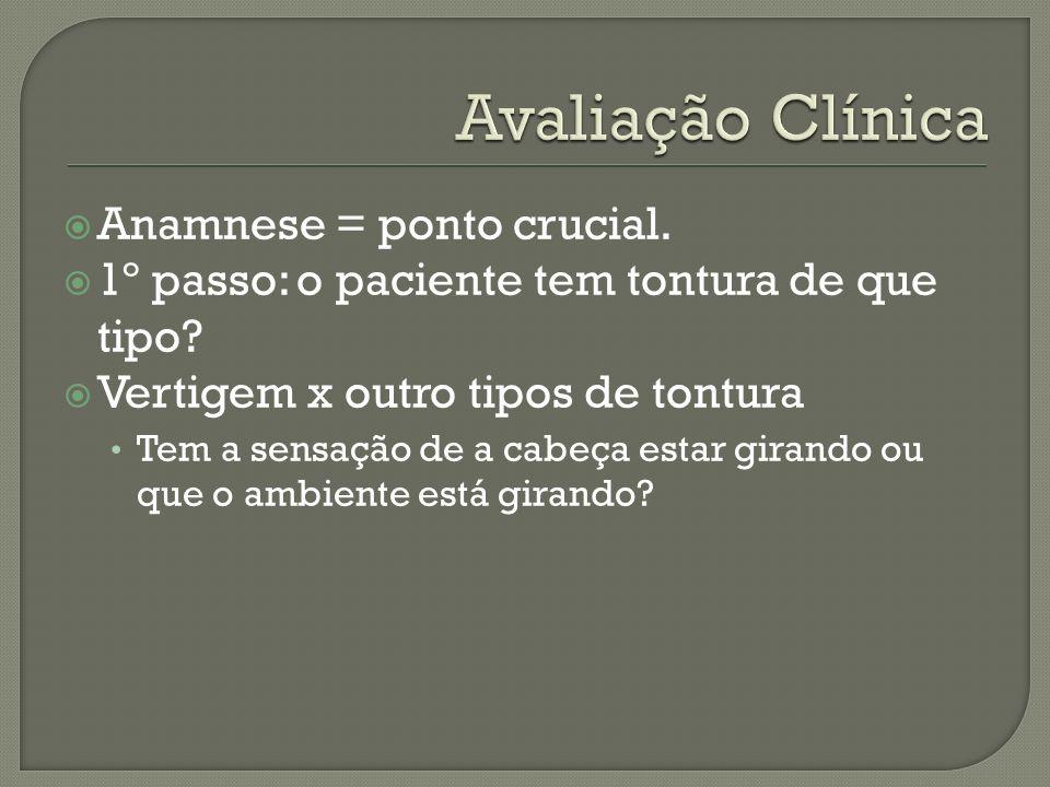 Avaliação Clínica Anamnese = ponto crucial.