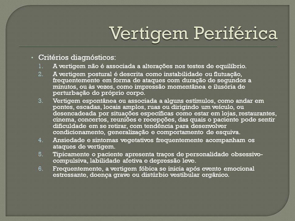 Vertigem Periférica Critérios diagnósticos: