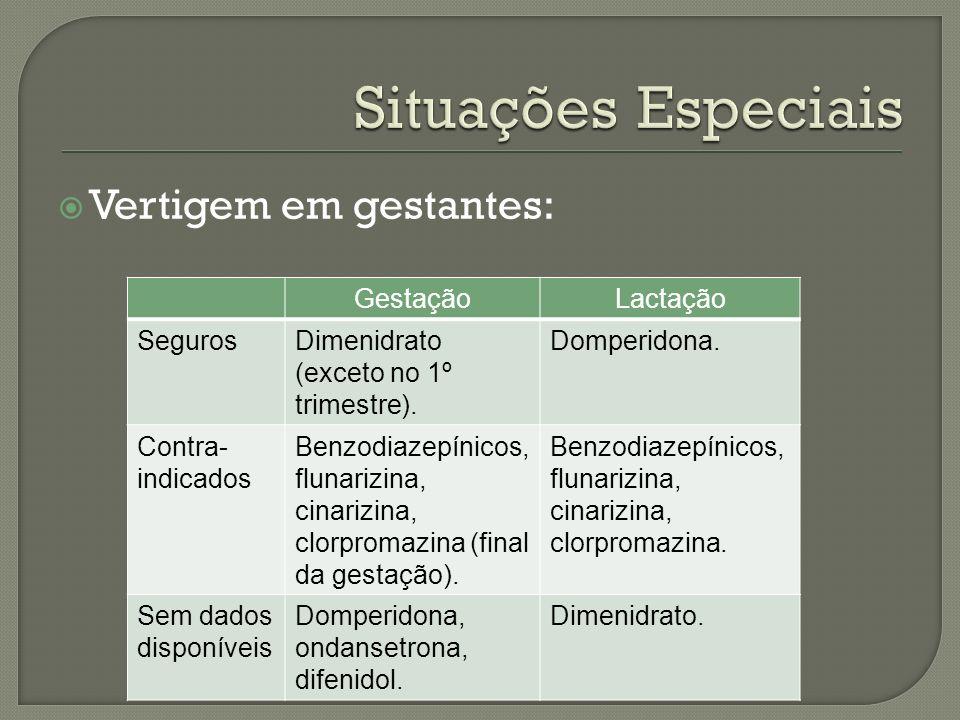 Situações Especiais Vertigem em gestantes: Gestação Lactação Seguros