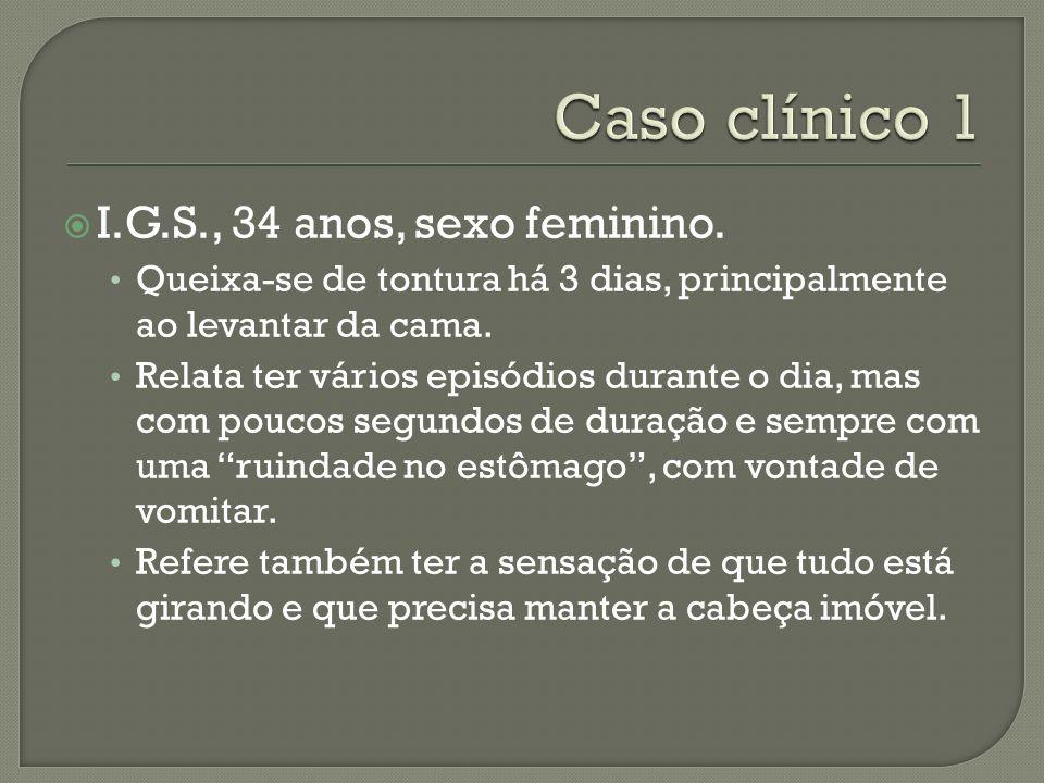Caso clínico 1 I.G.S., 34 anos, sexo feminino.