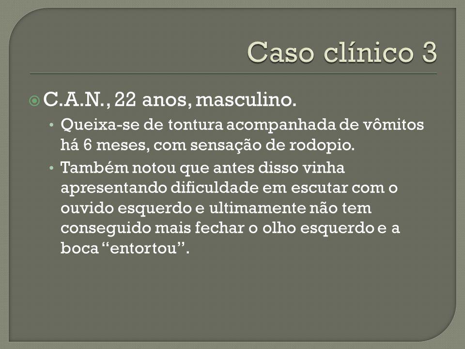 Caso clínico 3 C.A.N., 22 anos, masculino.