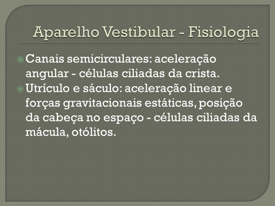 Aparelho Vestibular - Fisiologia
