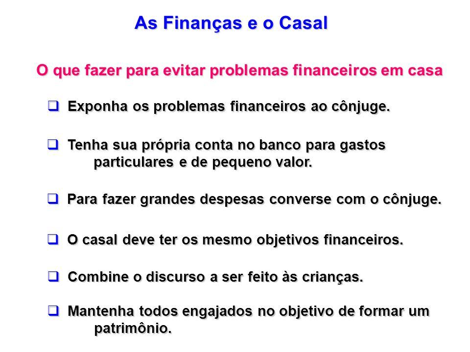 As Finanças e o Casal O que fazer para evitar problemas financeiros em casa. Exponha os problemas financeiros ao cônjuge.