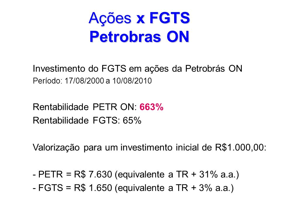 Ações x FGTS Petrobras ON
