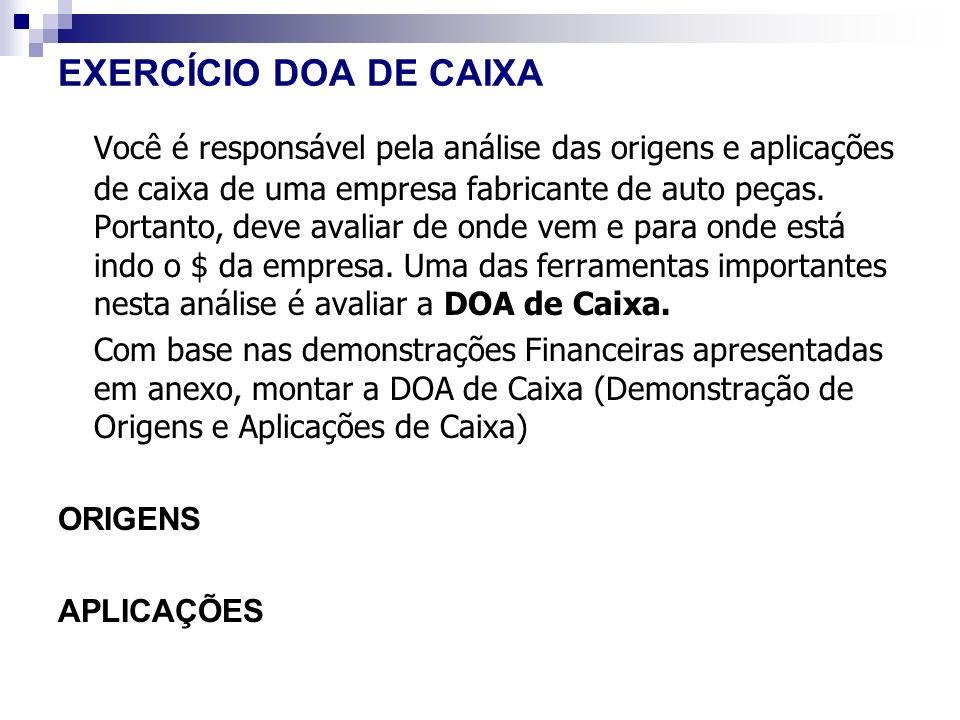 EXERCÍCIO DOA DE CAIXA