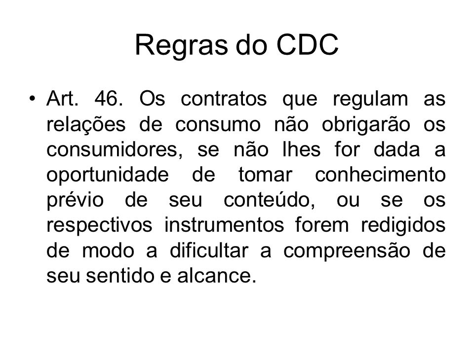 Regras do CDC