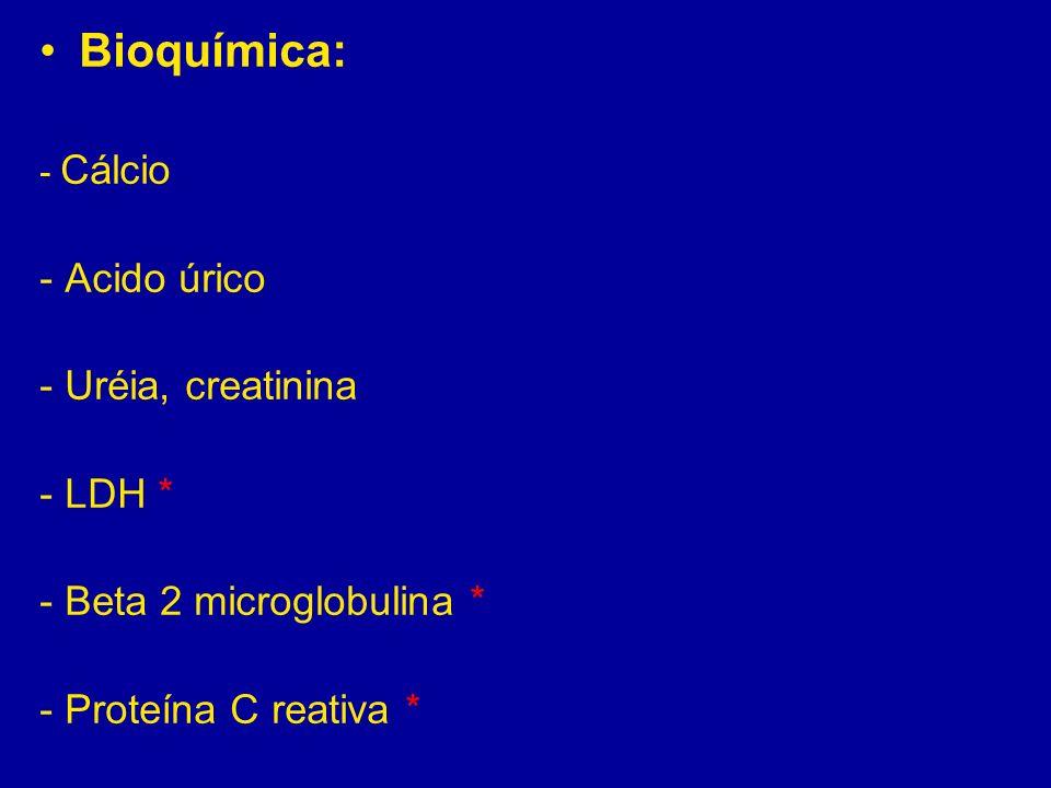 Bioquímica: - Acido úrico - Uréia, creatinina - LDH *