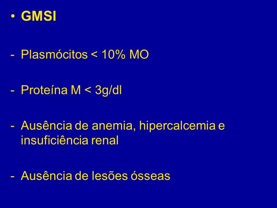 GMSI Plasmócitos < 10% MO Proteína M < 3g/dl
