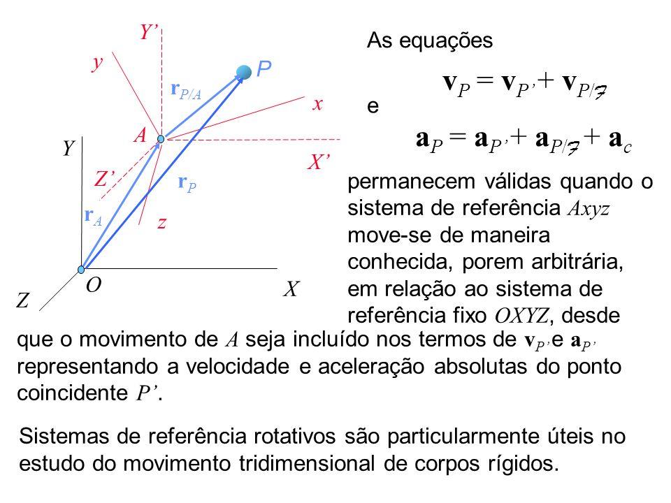 vP = vP' + vP/F aP = aP' + aP/F + ac Y' As equações y P rP/A x e A Y