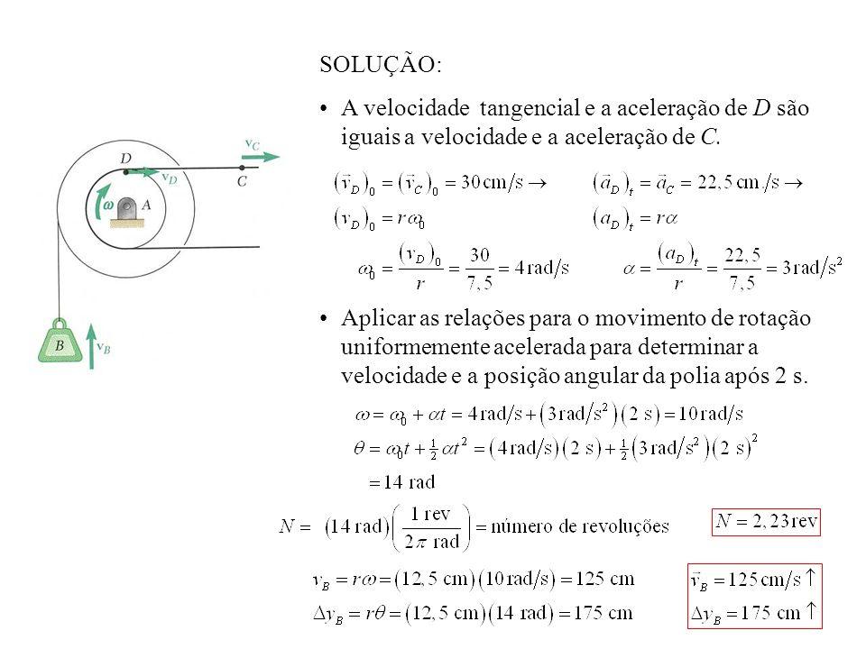 SOLUÇÃO: A velocidade tangencial e a aceleração de D são iguais a velocidade e a aceleração de C.