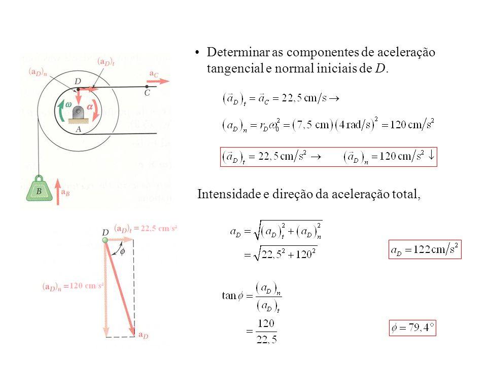 Determinar as componentes de aceleração tangencial e normal iniciais de D.
