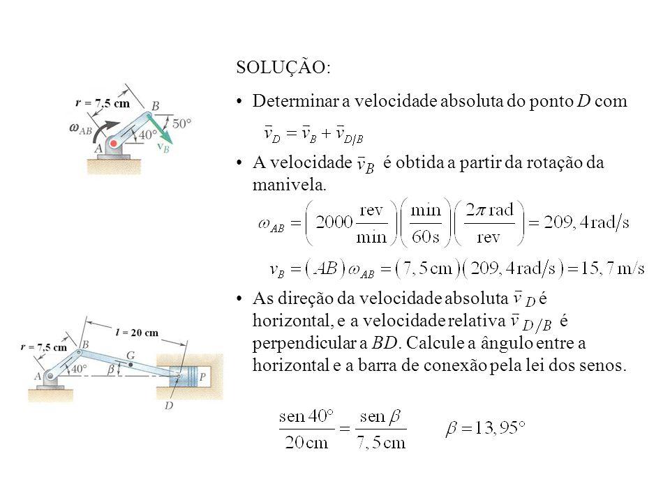 SOLUÇÃO:Determinar a velocidade absoluta do ponto D com. A velocidade é obtida a partir da rotação da manivela.