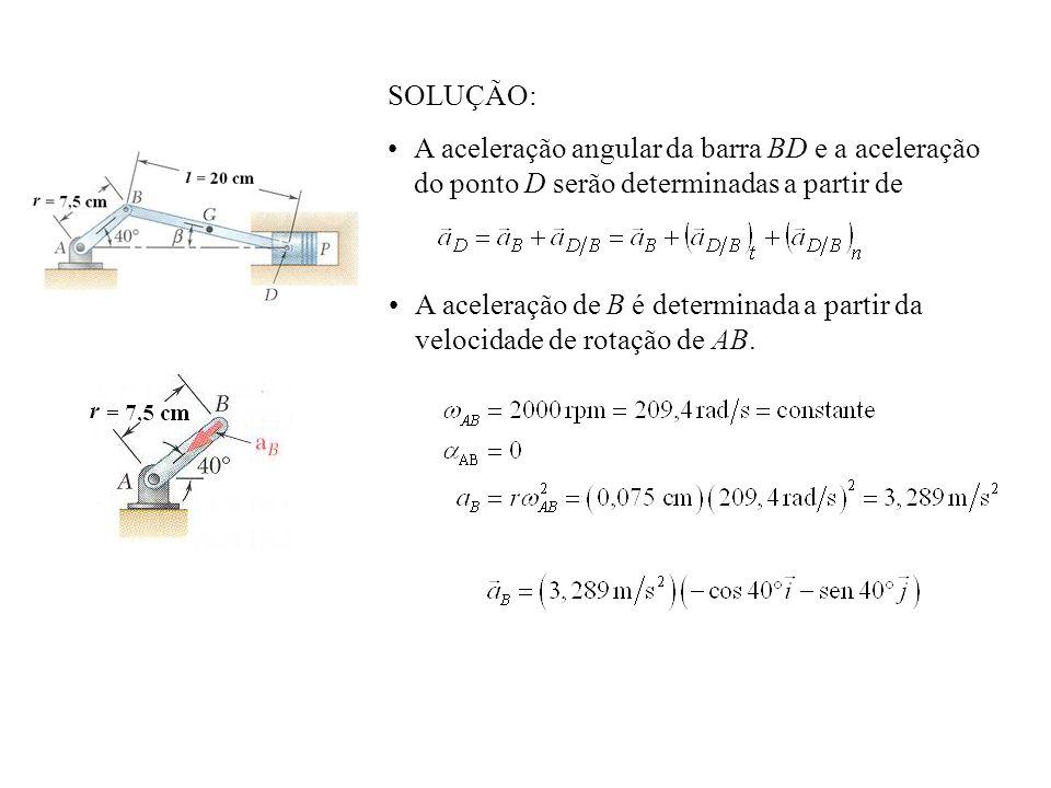 SOLUÇÃO: A aceleração angular da barra BD e a aceleração do ponto D serão determinadas a partir de.