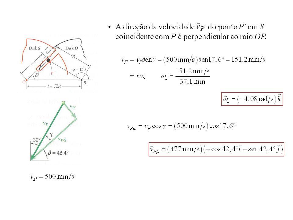 A direção da velocidade do ponto P' em S coincidente com P é perpendicular ao raio OP.
