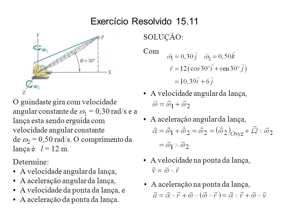 Exercício Resolvido 15.11 SOLUÇÃO: Com A velocidade angular da lança,