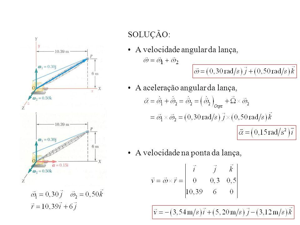 SOLUÇÃO:A velocidade angular da lança, A aceleração angular da lança, A velocidade na ponta da lança,