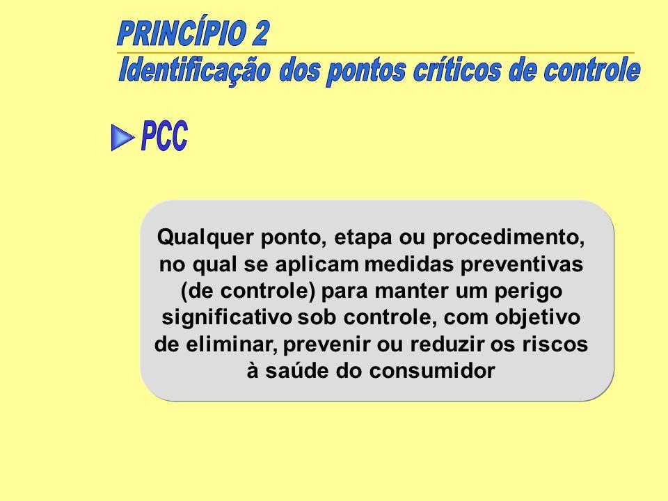 PRINCÍPIO 2 Identificação dos pontos críticos de controle. PCC.