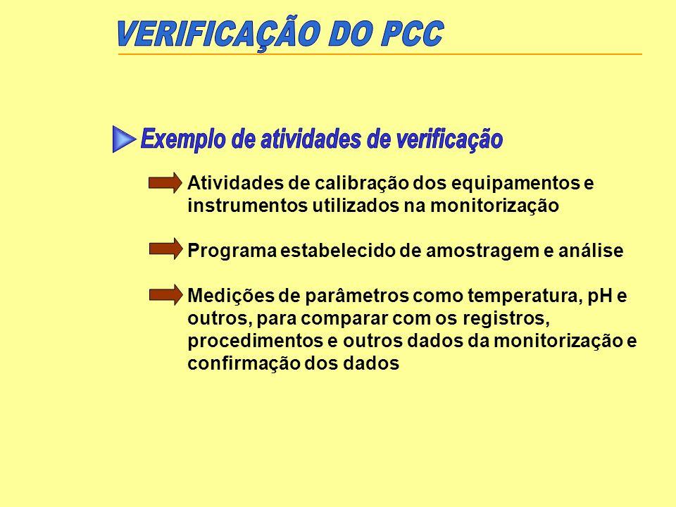 VERIFICAÇÃO DO PCC Exemplo de atividades de verificação