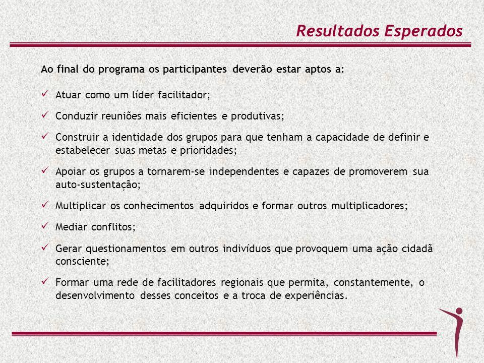 Resultados Esperados Ao final do programa os participantes deverão estar aptos a: Atuar como um líder facilitador;