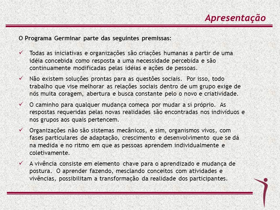 Apresentação O Programa Germinar parte das seguintes premissas: