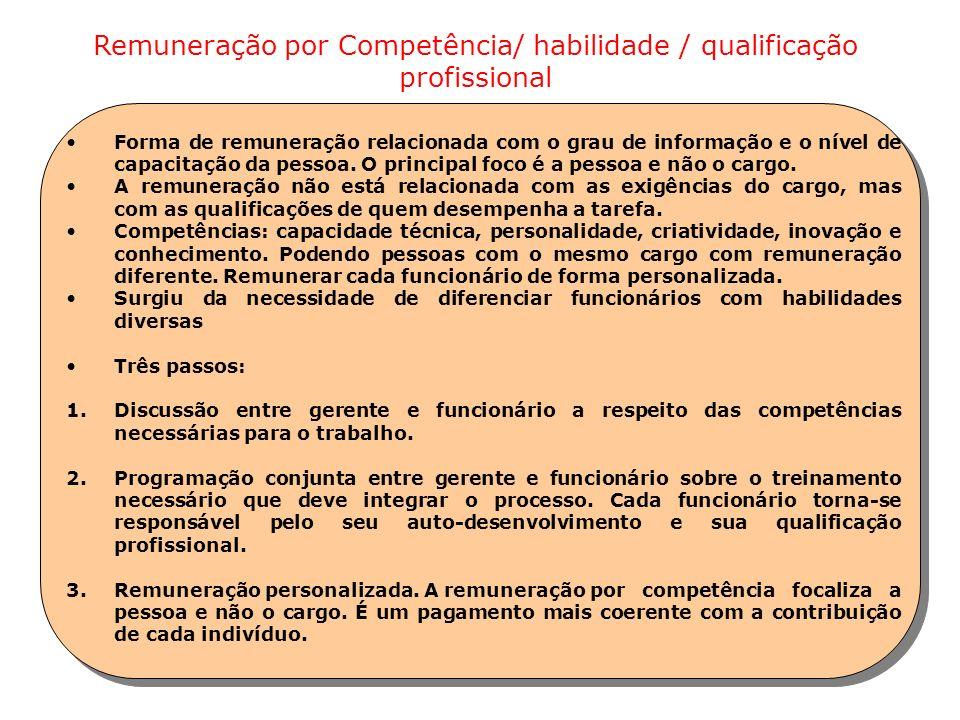 Remuneração por Competência/ habilidade / qualificação profissional