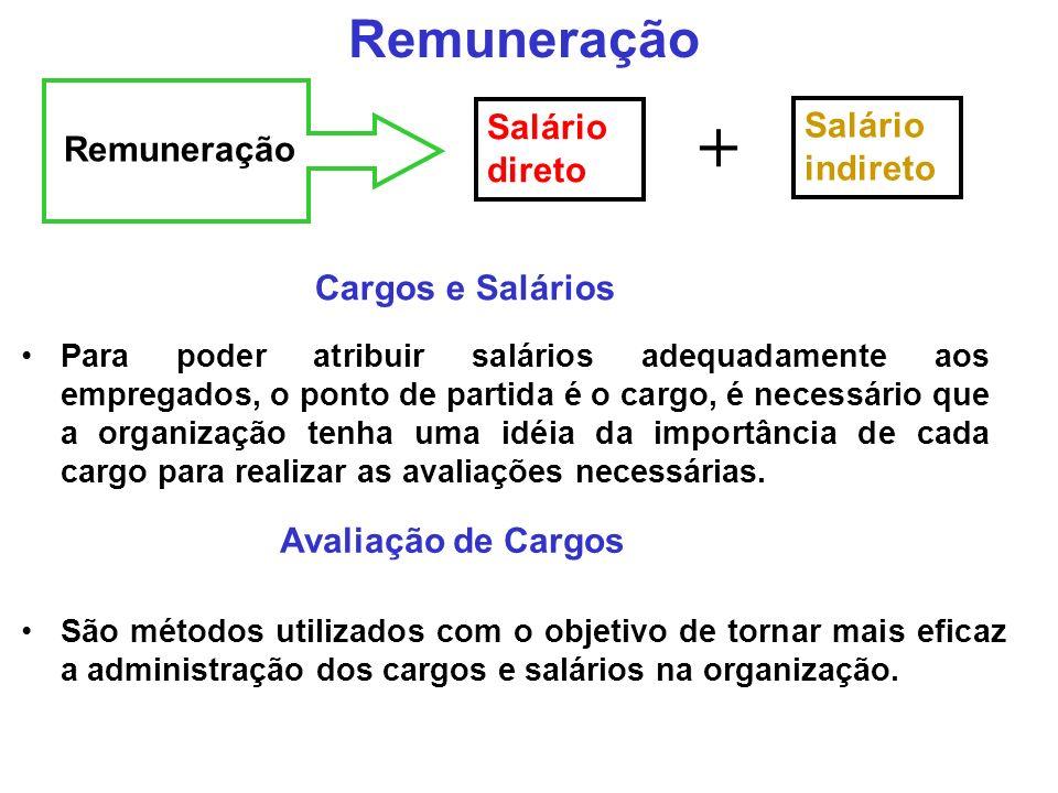 + Remuneração Salário direto Salário indireto Remuneração