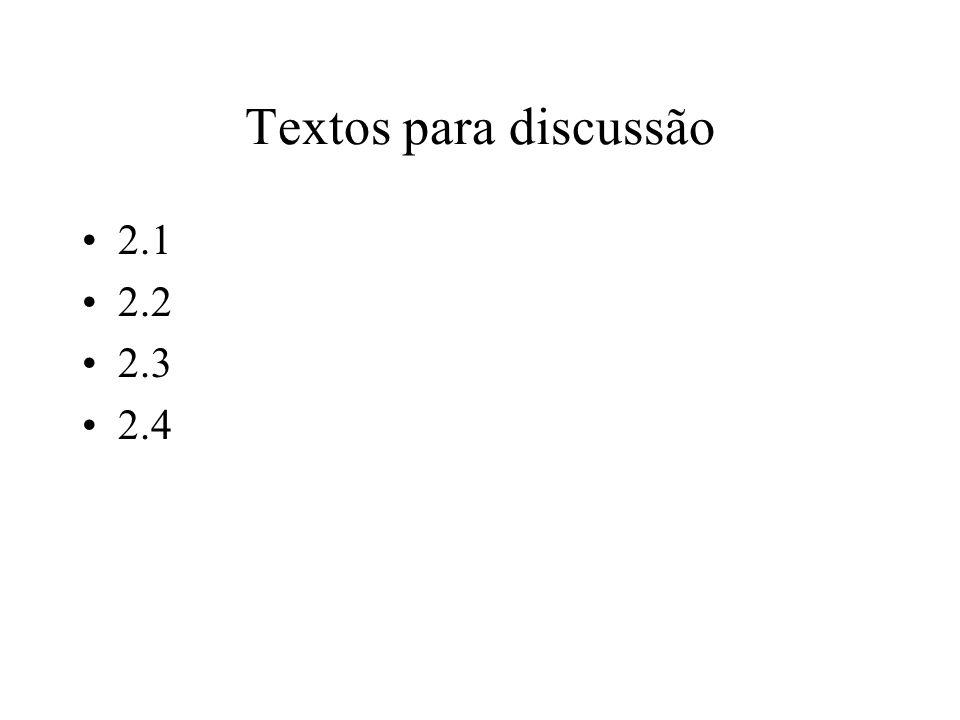 Textos para discussão 2.1 2.2 2.3 2.4