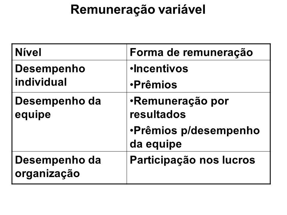 Remuneração variável Nível Forma de remuneração Desempenho individual