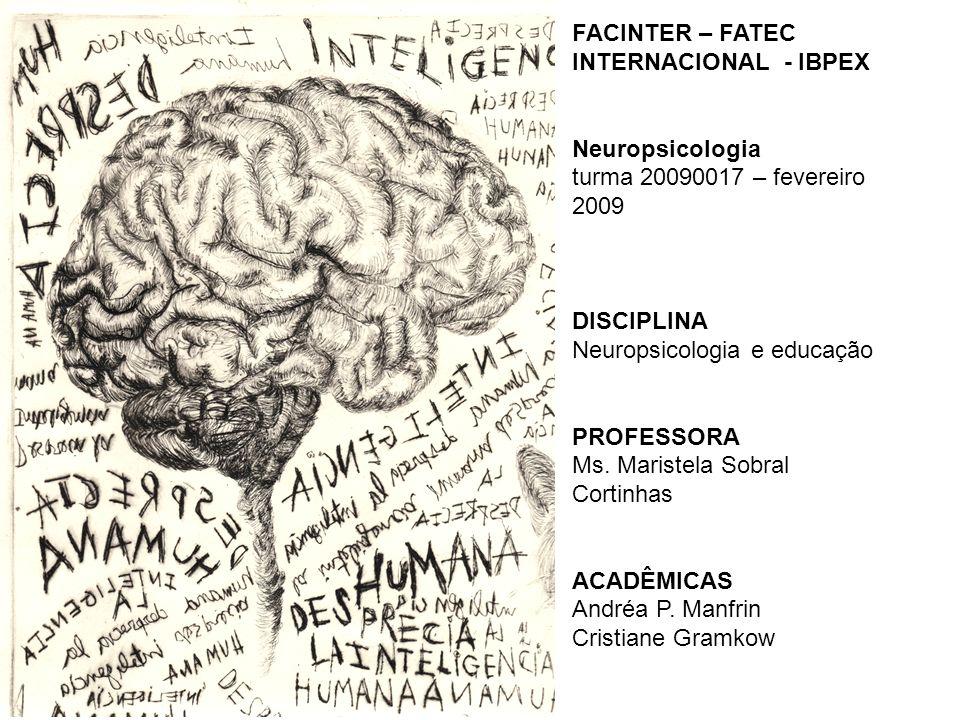 FACINTER – FATEC INTERNACIONAL - IBPEX Neuropsicologia turma 20090017 – fevereiro 2009 DISCIPLINA Neuropsicologia e educação PROFESSORA Ms.