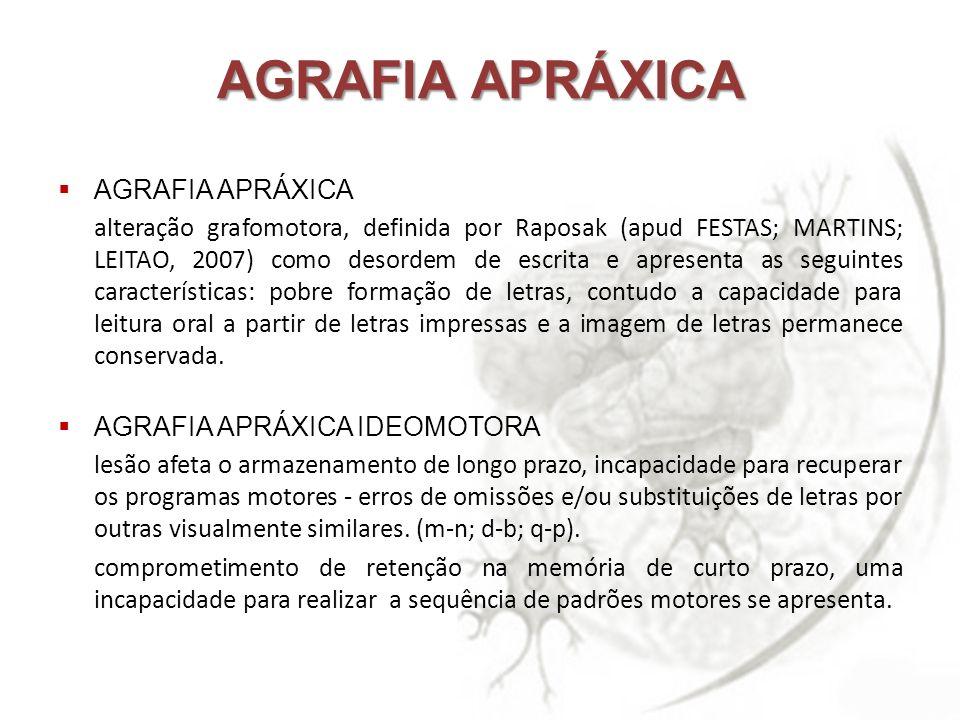 AGRAFIA APRÁXICA AGRAFIA APRÁXICA